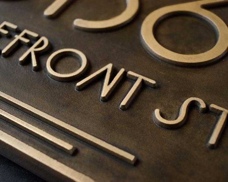 Art Deco Br Address Plaque Relief Usonia Font Close Up