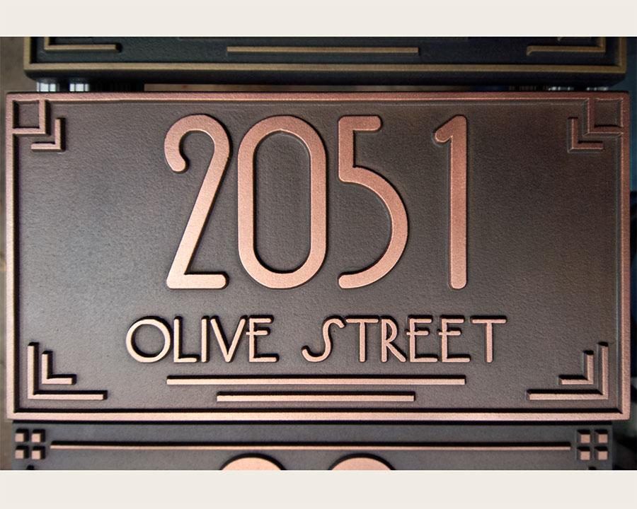 Art Deco Copper Address Plaque Carved Usonia Font Wright