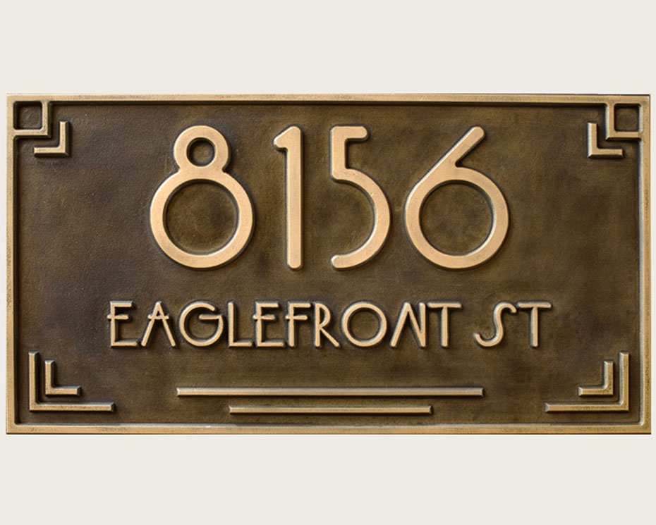 Art Deco Br Address Plaque Carved Usonia Font Wright
